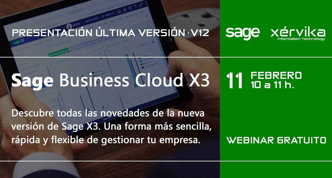 Próximo webinar de presentación de la última versión de Sage X3 (V12)