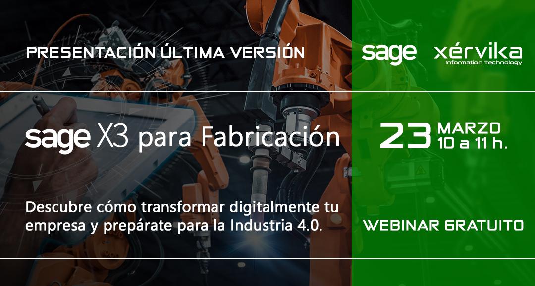 Próximo webinar Sage X3 para Fabricación