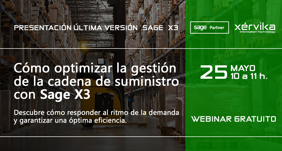 Próximo webinar Sage X3 para la gestión de la cadena de suministro